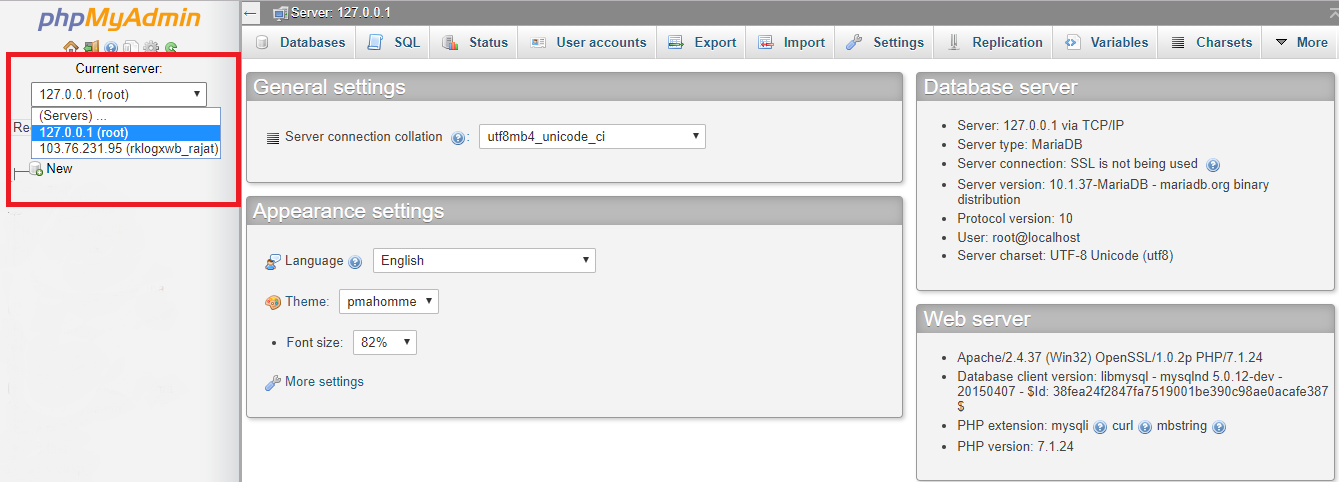 How to add remote DB in phpmyadmin